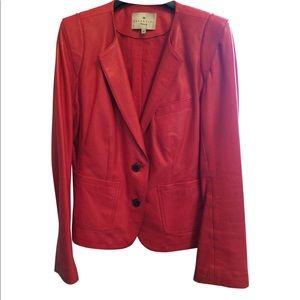 Essential Antwerp.  Red, buttery, leather blazer.